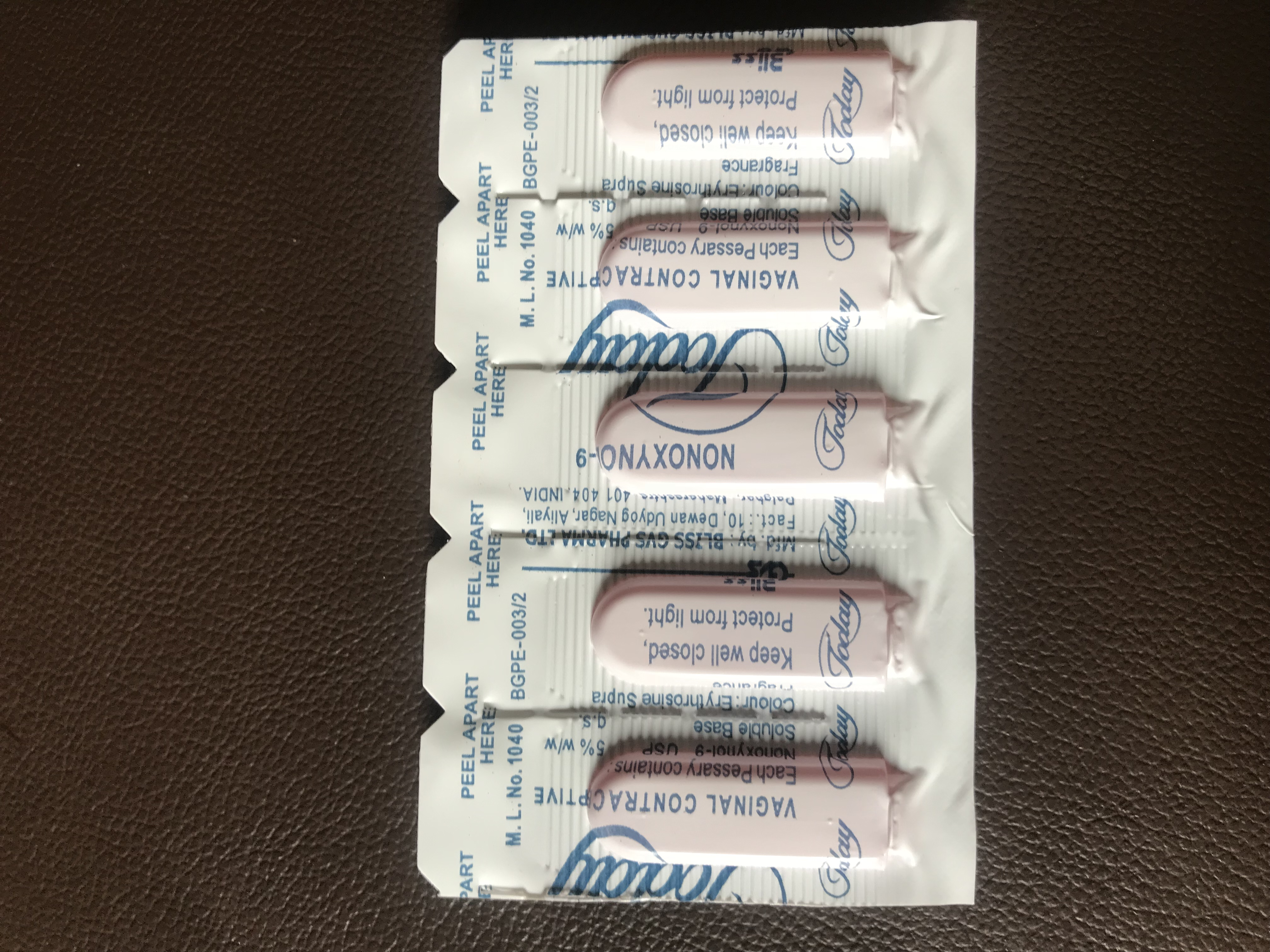 Foaming Tablet or Today Vaginal Contraceptive with Strawberry Flavor