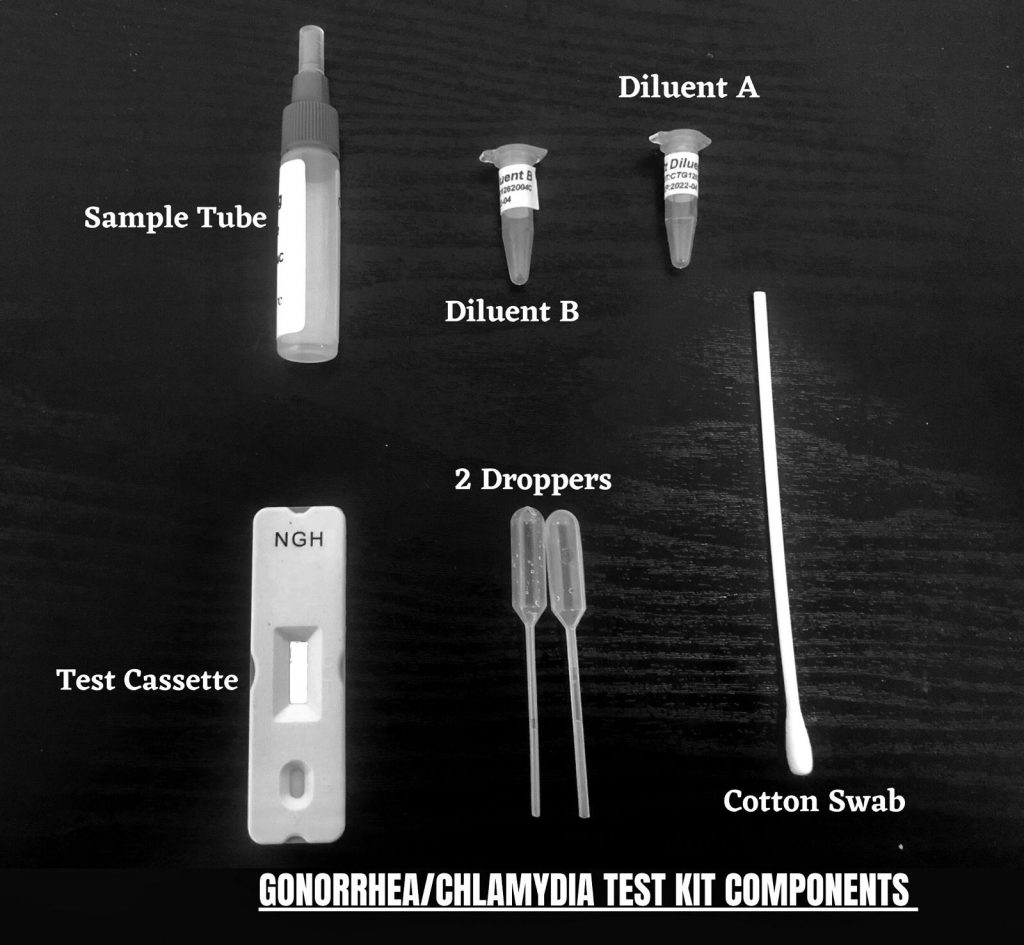 Gonorrhea and Chlamydia home/rapid test kit components